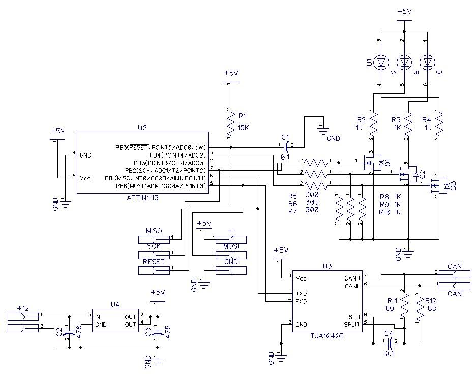 Принципиальная схема управления RGB светодиодом по CAN шине на микроконтроллере ATtiny13