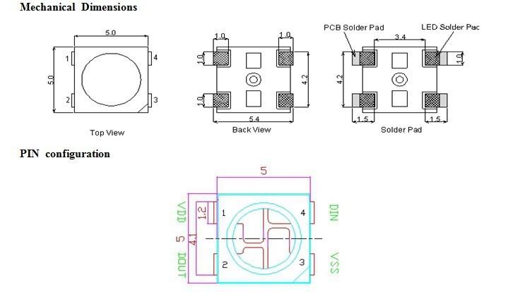 Размеры и цоколевка светодиода WS2812B