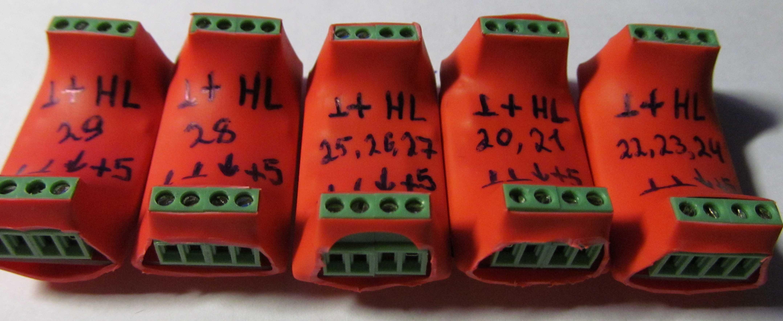 Готовые к установки на пять выключателей.