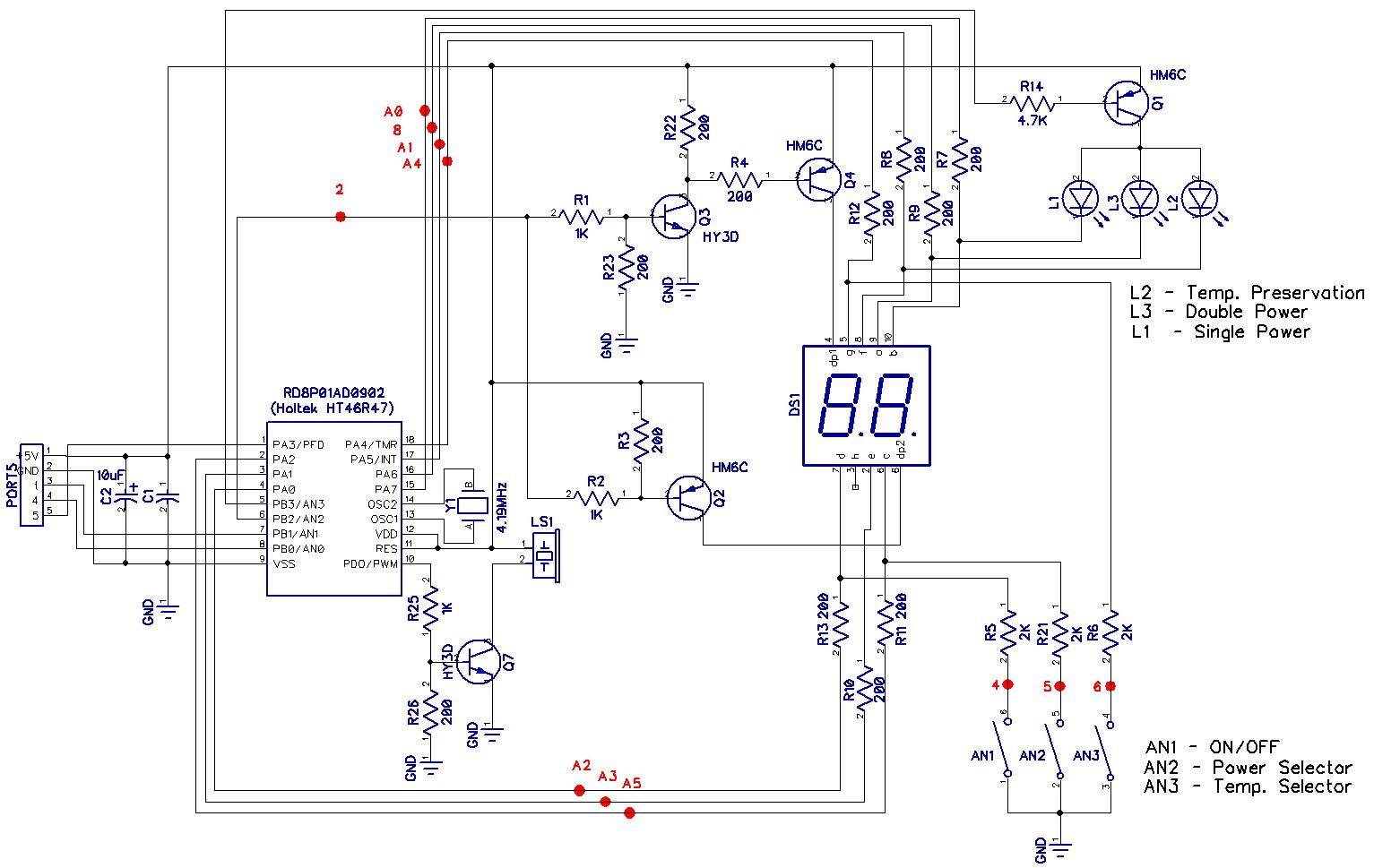 Электрическая схема штатного блока управления водонагревателя Термекс (Thermex IF 50 V)