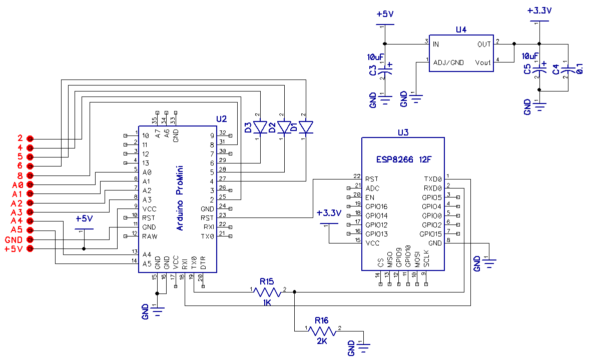 Схема подключения Arduino pro mini и ESP8266 к блоку управления