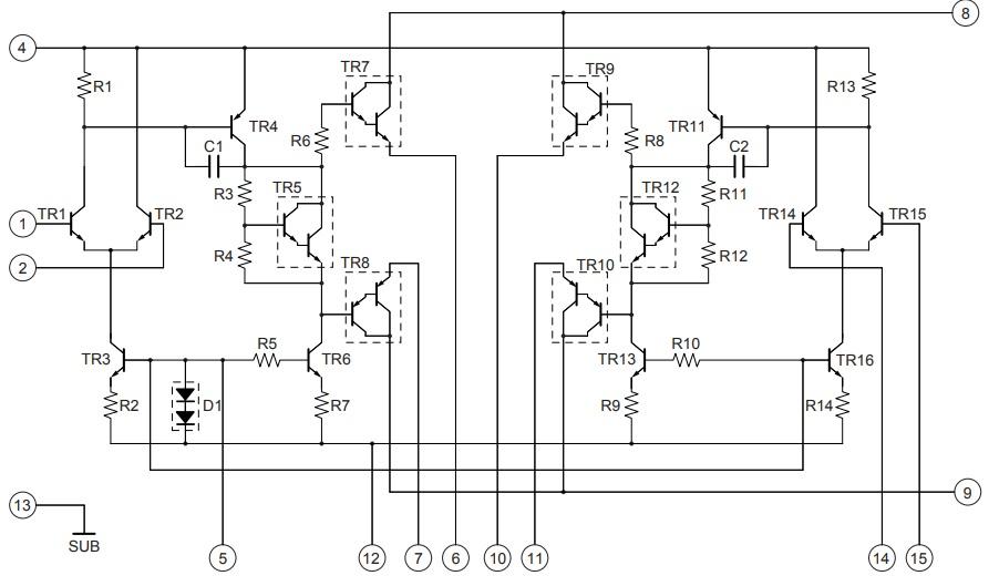 Внутренняя эквивалентная схема STK402-090