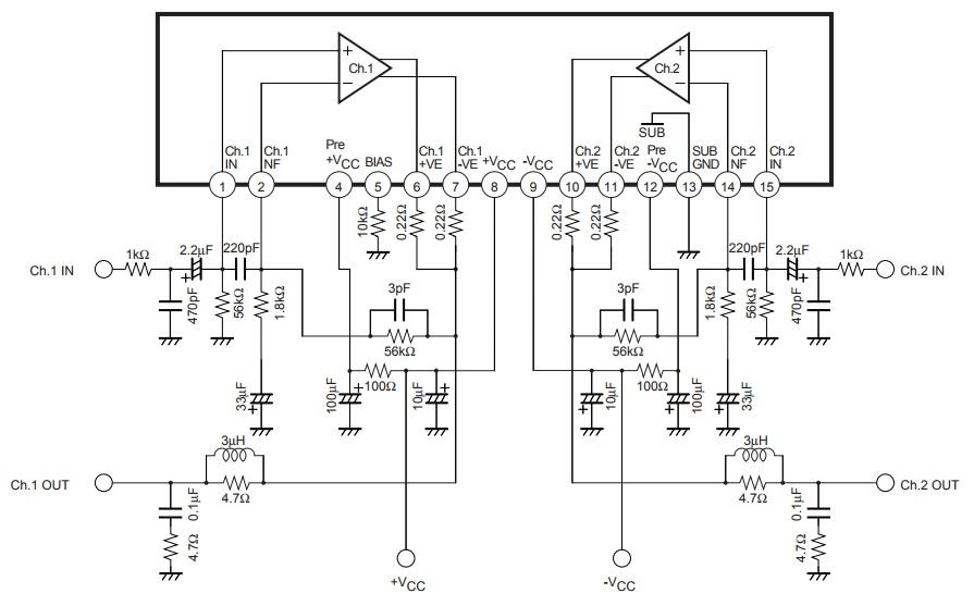 Типовая схема включения STK402-090