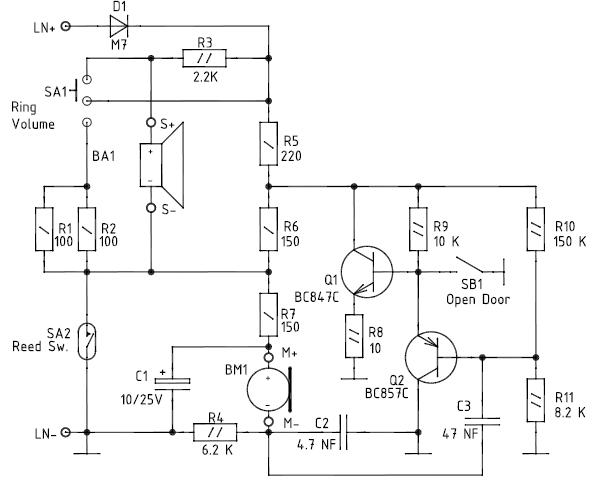 Принципиальная электрическая схема трубки домофона УКП-7