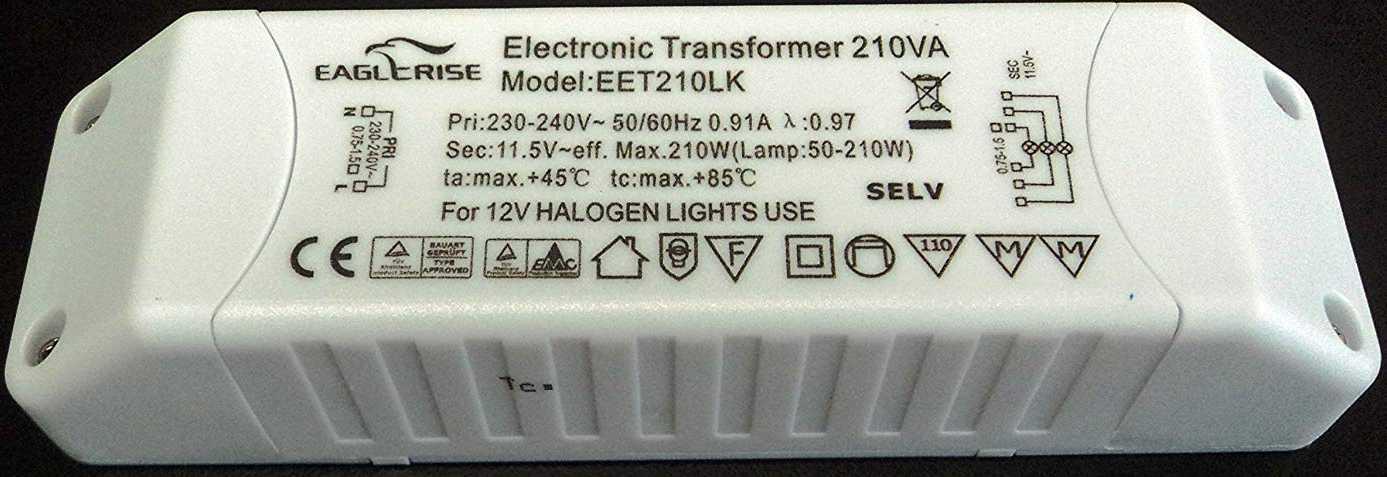 Электронный трансформатор для галогенных ламп Eaglerise EET210LK