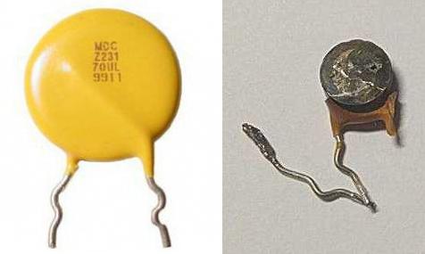 Слева - нормальный варистор. Справа - сгоревший варистор.