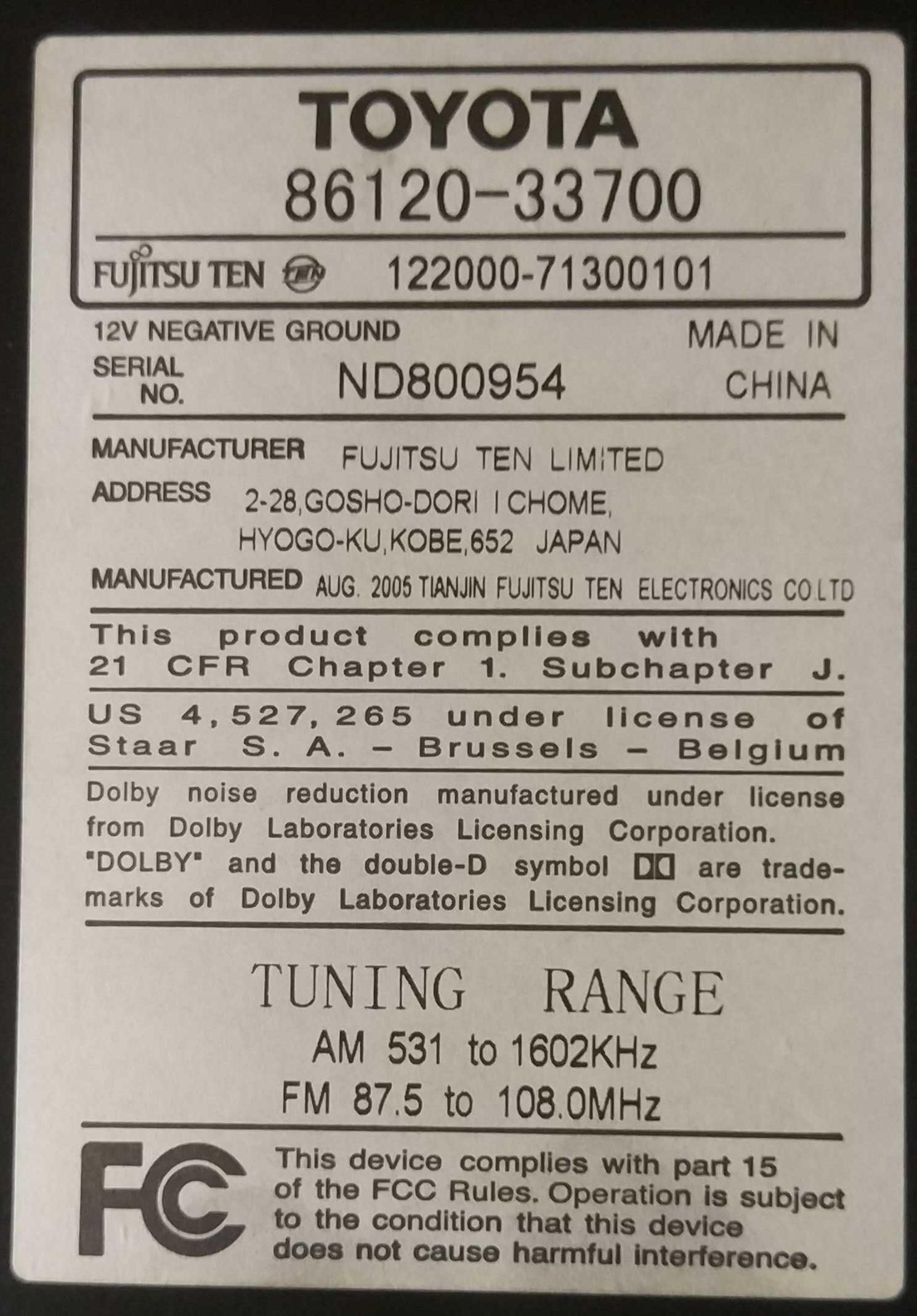 Штатная магнитола Toyota 86120-33700