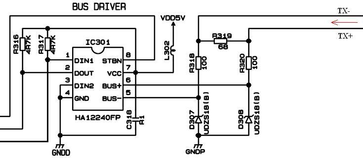 Драйвер шины IE-Bus микросхема HA12240FP
