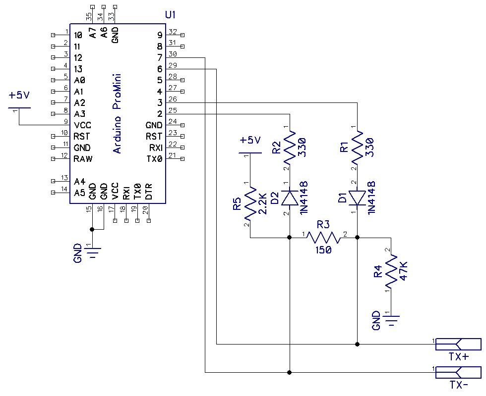 Схема подключения Arduino к шине данных AVC-LAN