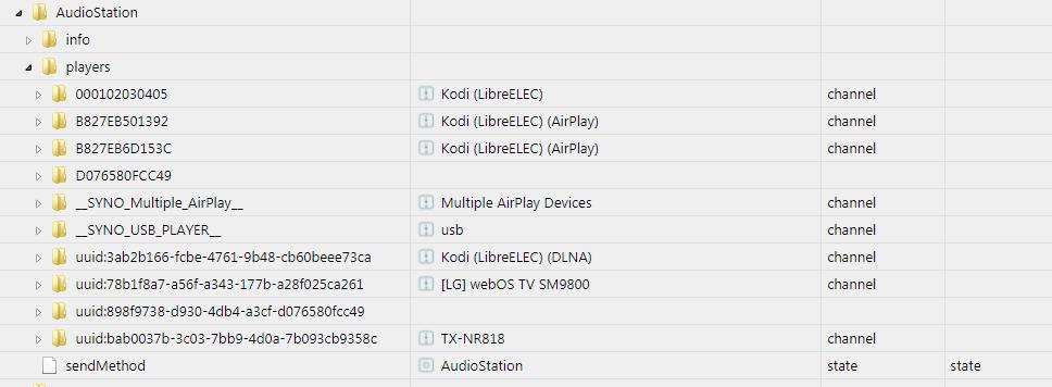 Доступные аудиоплееры AudioStation