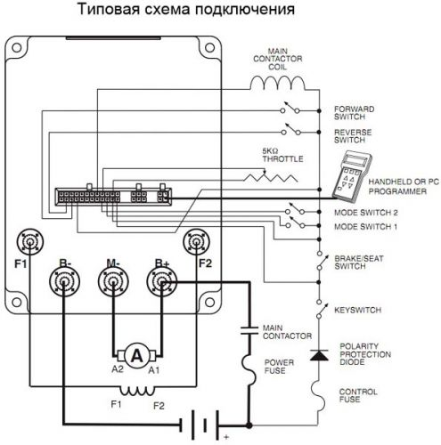 Типовая схема включения контроллера Curtis 1244
