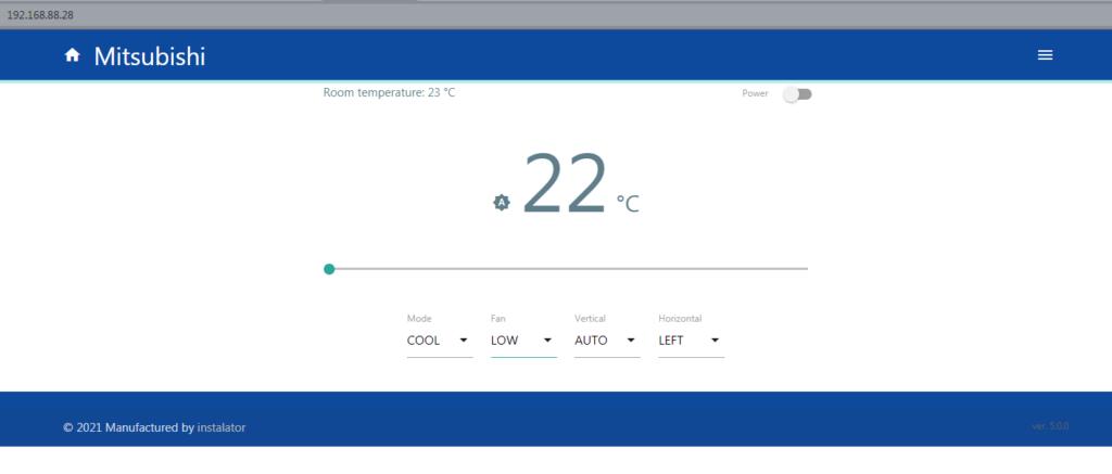 Веб интерфейс управления кондиционером на ESP
