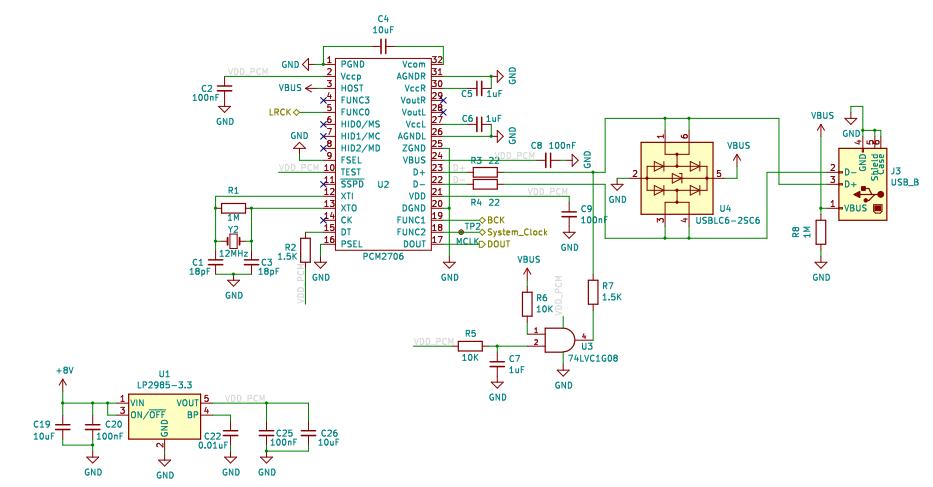 Схема звуковой карты на микросхеме PCM2706