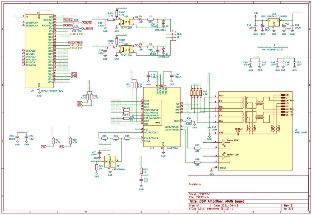 Схема подключения ESP32 и LAN8720