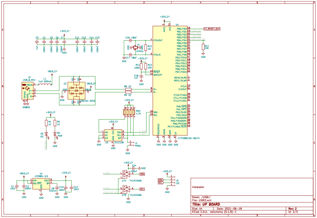 Схема интерфейса USBi на микроконтроллере CY7C68013A-56LTX для программирования DSP ADAU1452