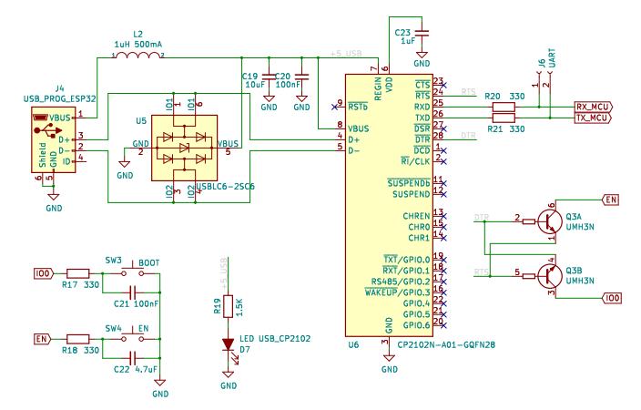 Схема конвертера USB to UART на микросхеме CP2102N для программирования ESP32