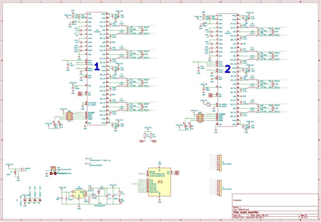 Принципиальная схема усилителя на микросхеме TAS6424